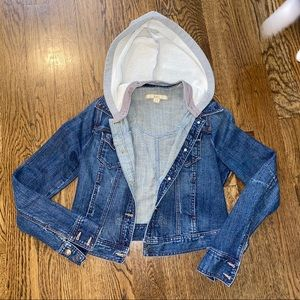 forever 21 denim jacket w/ detachable hood sz med